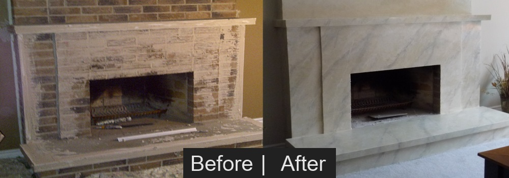 Brick Fireplace Before & After Faux Finish Painting Effect