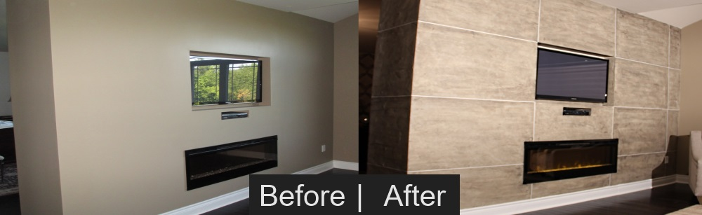Drywall to Stone Faux Finish Effect Before & After