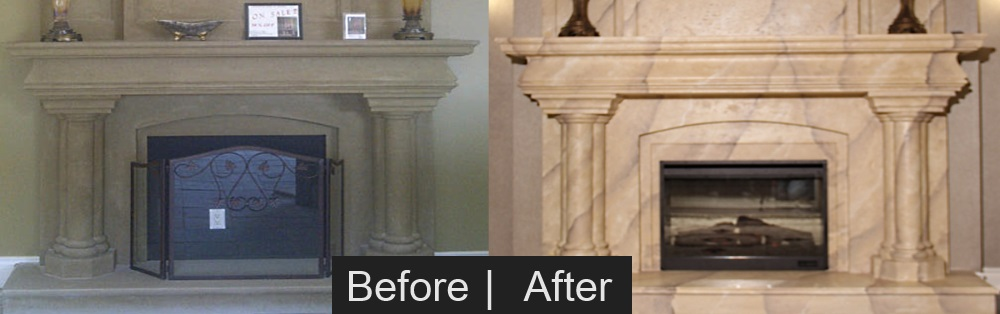 Marble Mantel Faux FInish Effect Before & After