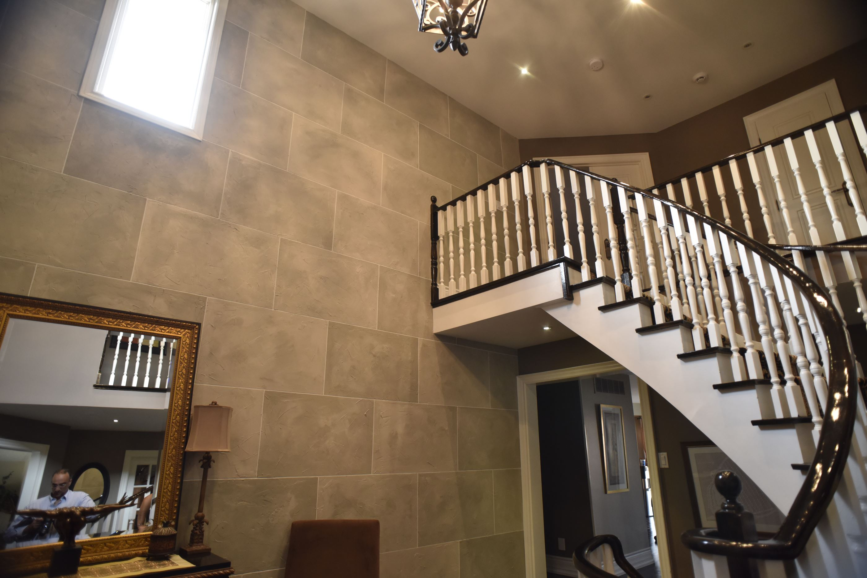 Stone Wall Faux Finish with Staircase