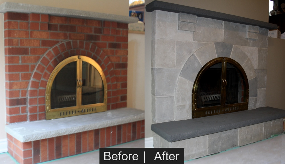 Stucco Stone Fireplace before and after
