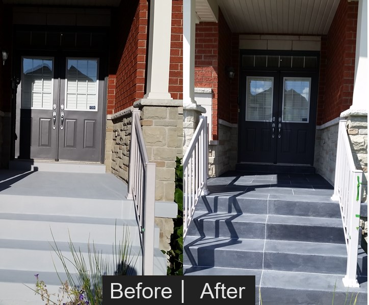 front porch and steps stone faux finish before and after