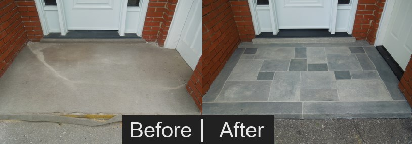 front porch stone faux finish before and after